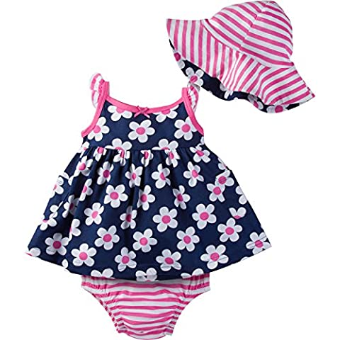 Gerber Baby Girls' Sundress, Bloomer and Hat Set, Daisies, 0-3 Months (0 3 Months Baby Girl)