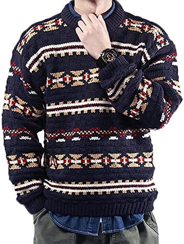メンズ ニット レディース セーター ユニセックス ジャガード柄 ペアルック カップルセット お揃い 厚手 ゆったり 大きいサイズ