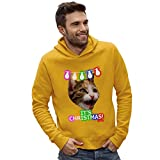 Twisted Envy Men's It's Christmas! Cat Yellow Hoodie Large