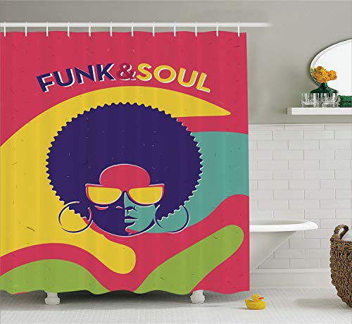 Ambesonne Vintage Decor Shower Curtain by, Groovy Funk and Soul Event Flyer Print with a Cool Disco Party Music Vinyl Records, Fabric Bathroom Decor Set with Hooks, 75 Inches Long, - Record Groovy