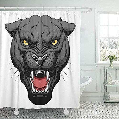 (Woodrowv Woodrowv Shower Curtain with Hooks, Bath Curtain, 72x72 Inches Black Cat Growling Panther Face Head Angry Cougar Mascot Tattoo Wild Animal Mildew Resistant Machine)