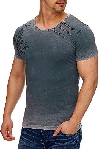 TAZZIO Herren Rundkragen Used-Look T-Shirt T-133