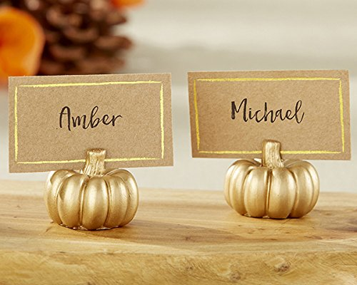 Kate Aspen 102 Resin Gold Pumpkin Place Card Holder Wedding Thank-You Gifts Baby Bridal Shower Table Décor Decorations Party Souvenir Favors