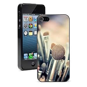 Apple iPhone 5 5S Hard Back Case Cover Color Professional Makeup Brushes (Black)