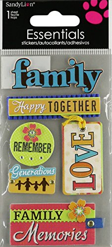 """Essentials Dimensional Stickers 2.25""""X5"""" Sheet-Family Memories"""