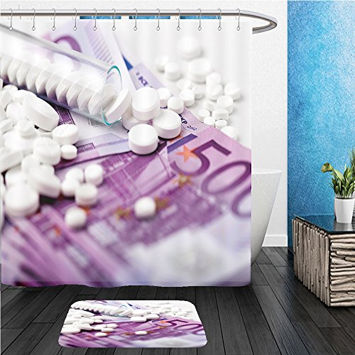 Beshowereb Bath Suit  Showercurtian   Doormat Bunch Of White Tablets With Banknotes Pharmaceutical Business Scattered Pills Test Tube With 534661396