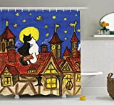 Ambesonne Cat Shower Curtain, Two Cats Sitting on Roof in Old Town and Looking at Starry Sky Night Funk Love Valentines, Fabric Bathroom Decor Set with Hooks, 75 inches Long, Multi