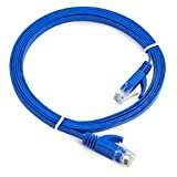 Aurum Cables Flat Cat6 Snagless Network Ethernet Patch Cable - 30 Feet - Blue