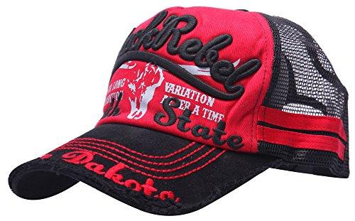 MINAKOLIFE Mens 103% Cotton Distressed Vintage Cotton Baseball Mesh Cap Snapback Trucker Black