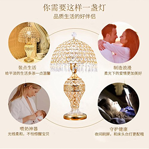 LgoodL Crystal Glass Table Lamp Bedroom Bedside Lamp Living Room Luxury Wedding Decorative Table Lamp Creative Table Lamp D25xH48CM (Remote control) SILVER by LgoodL (Image #7)