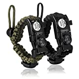 LOGAGA Survival Paracord Bracelet, The Ultimate Tactical Survival Gear with Whistle/Fire Starter/Scraper/Compass & Thermometer and SOS Light for Camping Hiking Outdoors