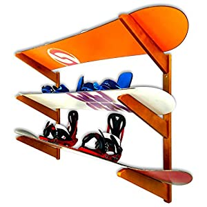 Timber Snowboard Wall Rack Holds 3 Snowboards Cherry Wood Home & Garage Storage Mount System