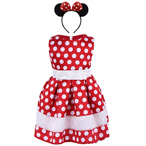 Girl Sleeveless Polka Dots Princess Birthday Party Minnie