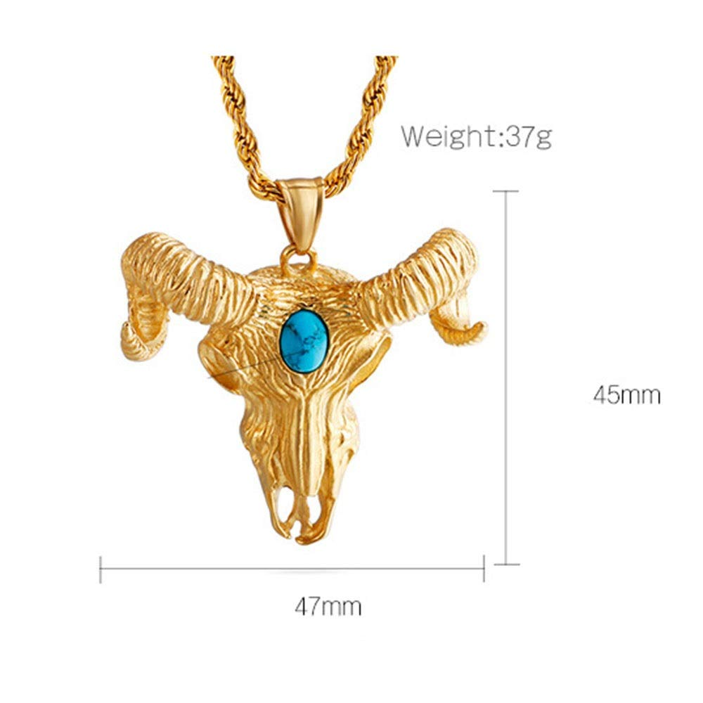 Color : Gold, Size : 4547MM Jaiconfiance Mens Necklace Unisex Stainless Steel Devil Head Inlay Zircon Pendant 18k Gold Plated Gothic Pendant DIY Jewelry /Birthday Gift Punk Design