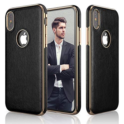LOHASIC iPhone Xs Case, iPhone X Case Premium Leather Slim Thin Luxury PU Non Slip Soft Grip Hybrid Flexible Bumper Shockproof Cases Compatible with Apple iPhone X XS New Version (2018) - Black ()