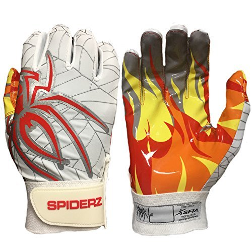 Spiderz Adult RAW Football Glove with Fire Palms (White/Red Hot, X-Small)