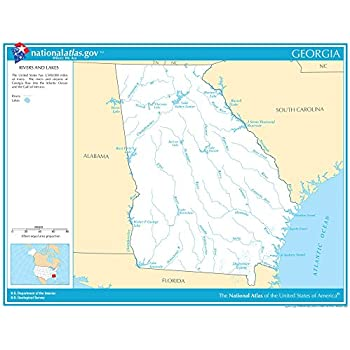 Map Of Georgia Lakes And Rivers.Amazon Com Map Poster Texas Rivers Lakes 11 X14 Gloss Finish