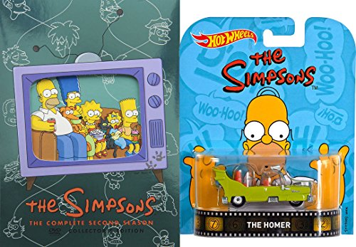 The Simpsons Complete Season Two featuring the Episode 'Oh Brother, Where Art Thou?' Debut of The Homer Car with Bonus Hot Wheels Retro The Home 1:64 DieCast Car Bundle