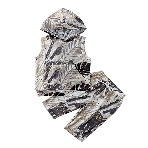 Scfcloth Newborn Baby Boys Infant 2pcs Camouflage Sleeveless Hoodie + Shorts Clothing Sets Summer Outfits (2-3 Years, Camo)