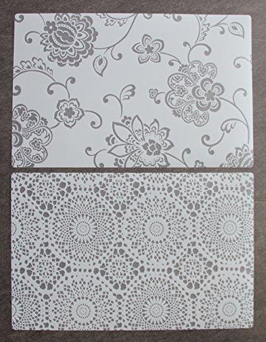 6er Set Tischset transparent klar weiß Blume Spitze zwei Motive durchsichtig abwaschbar mit Bleistiften