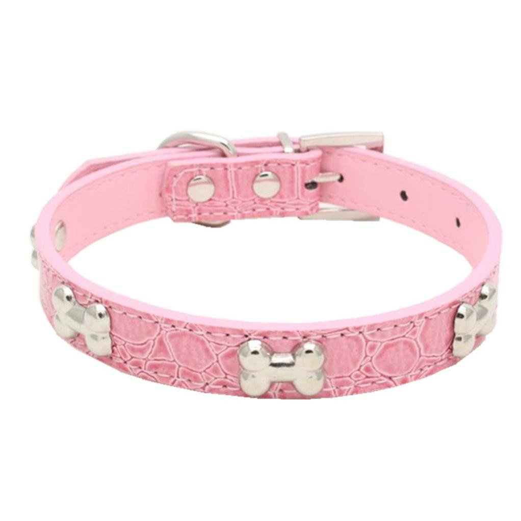 Hot Sale!2018 Clearance!Dog Clothes❤️ZYEE❤️ Exquisite Adjustable Buckle Metal Bone Dog Puppy Pet Collars (S, Pink)