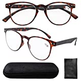 Eyekepper Round Full Coverage Ultrathin Flex Frame Reading Glasses Tortoise +0.75