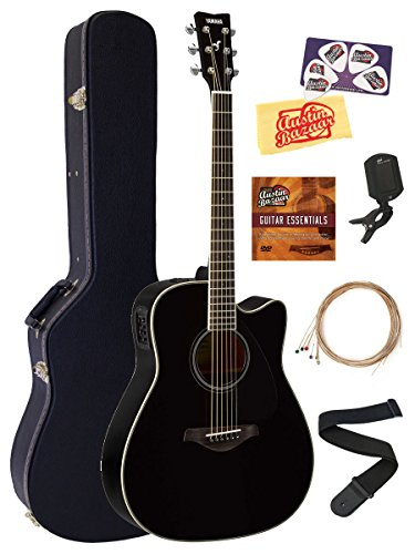 Yamaha FGX820C Solid Top Folk Acoustic-Electric Guitar - Black Bundle with Hard Case, Tuner, Strings, Strap, Picks, Instructional DVD, Polishing Cloth