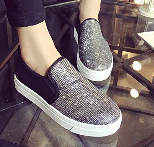 VECJUNIA Ladies Breathable Sequins Casual ShoesTrainers Loafers Silver f4mZc