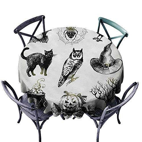 VIVIDX Round Outdoor Tablecloth,Vintage Halloween,Halloween Related Pictures Drawn by Hand Raven Owl Spider Black Cat,Modern Minimalist,63 INCH,Black White -