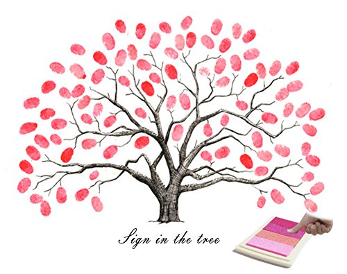 Fingerprints Tree, Proboths Creative DIY Guest Signature Sign-in Book Canvas Fingerprints Tree Painting for Wedding Birthday Party with 4pcs Ink Pads