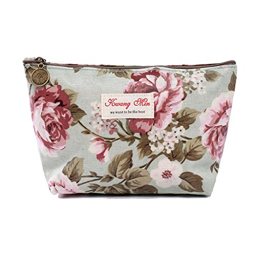 (Lovup Vintage Flower Floral Pencil Case Coin Bag Cosmetic Makeup Storage Pouch Purse (L, Green))