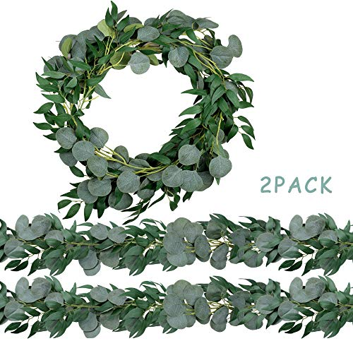 Trimgrace 2 Pack 6.5 Feet Artificial Silver Dollar Eucalyptus Leaves Garland with Willow Vines Twigs Leaves for Wedding Party Home Centerpiece Table Runner Greenery Garland Indoor Outdoor