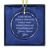 Round Crystal Christmas Ornament - Bible Verse Philippians 4:13 - Personalized Engraving Included