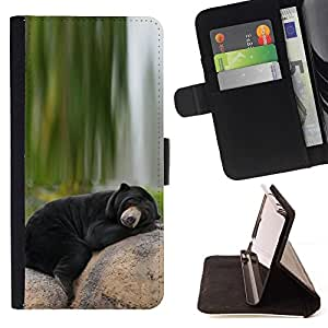 For Sony Xperia Z2 D6502 Bear Sleepy Alaska Black Nature Green Beautiful Print Wallet Leather Case Cover With Credit Card Slots And Stand Function