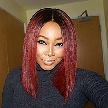 Zhangxiuzhu Hair 1b 99j Ombre Color Human Hair Lace Wigs For Black Woman 130 Density Silky