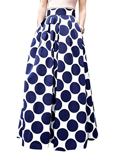 CHOiES record your inspired fashion Choies Women's White Contrast Polka Dot Print Maxi Skirt 16 ()