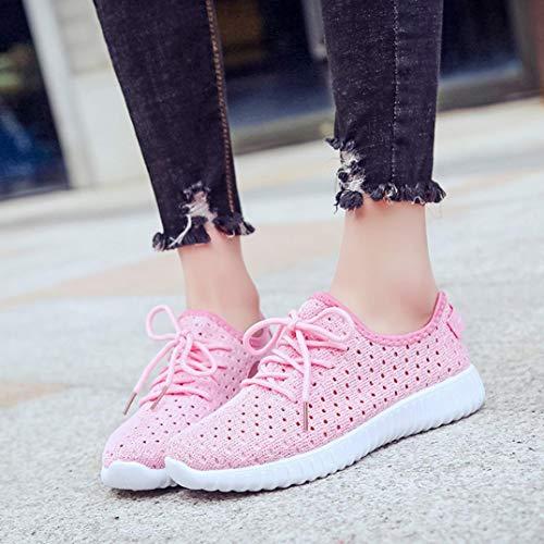 Soles Malla Cordones c Aire Zapatos Las Libre para Mujeres de Arriba de Casuales al HqWU75