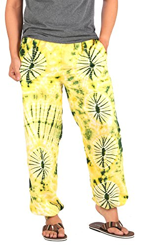 CandyHusky Men Tie Dye Elastic Waist Loose Fit Hippie Baggy Joggers Yoga Pants (S/M, Yellow)