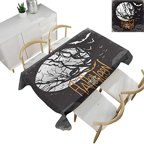 Warm Family Vintage Halloween Washable Table Cloth Halloween Themed Image with Full Moon and Jack o Lanterns on a Tree 54