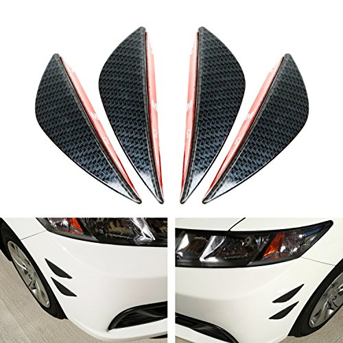 "iJDMTOY 4pcs Black Gloss Finish ""Carbon Fiber"" Patten Front Bumper Canards, Body Diffuser Fins, Universal Fit For Any Car"