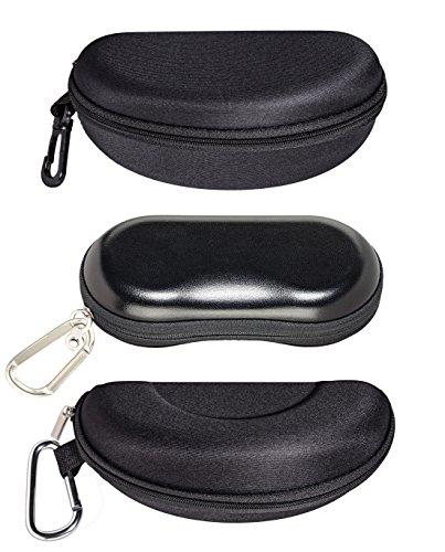 Slim Eyeglass Case For Small To Medium Frames, Zip-up Glasses Case With Clip, Black Trek