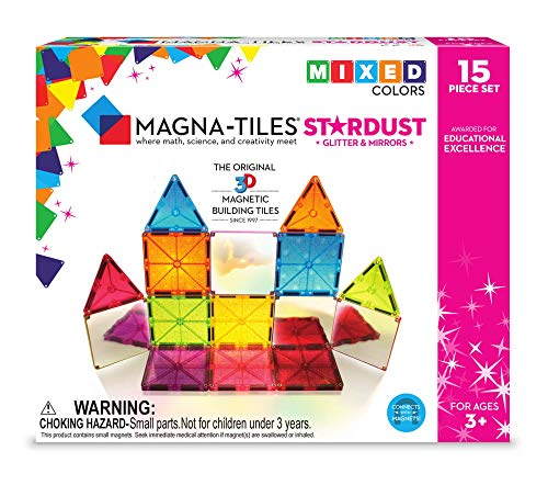 (Magna-Tiles 18915 15Piece Stardust Set, The Original, Award-Winning Magnetic Building Tiles, Creativity & Educational, Stem Approved, Glitter and Mirrors (Pack of)