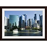 """GREATBIGCANVAS Motorboats in a River, Chicago River, Chicago, Cook County, Illinois, 2010"""" Espresso Framed Wall."""