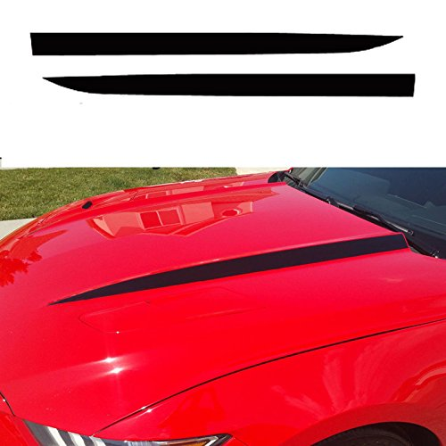 - Xotic Tech Hood Spear Side Stripe Decal Sticker for Ford Mustang 2015 2016 2017 Glossy Black