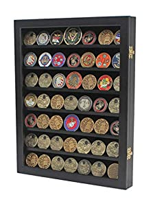 Military Challenge Coin Display Case Cabinet Poker Chip Rack Wood Cabinet, Glass Door (COIN46-BL) by Display Gifts Inc.