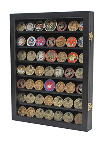(Military Challenge Coin Display Case Cabinet Poker Chip Rack Wood Cabinet, Glass Door (COIN46-BL))