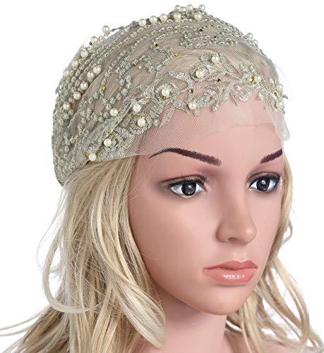 rap Retro Elastic Headband Turban Headscarf Wrap with Crystal Rhinestones Hair Accessories (Beige) ()