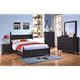 Superieur Zachary Modern Bedroom Collection 4pc Set Cottage Style Dark Blue Full Size  Bed Paneling HB FB