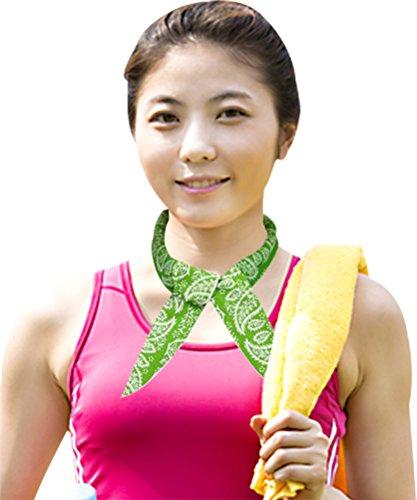 [Summer Cooling Bandana Ice Scarf Collar Neck Wrap Green] (Hallowe En Costumes Ideas)