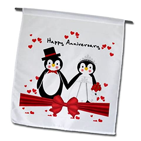 3dRose fl_155255_1 Red Hearts Happy Anniversary Penguin Wedding Couple Garden Flag, 12 by 18-Inch - Penguin Squares